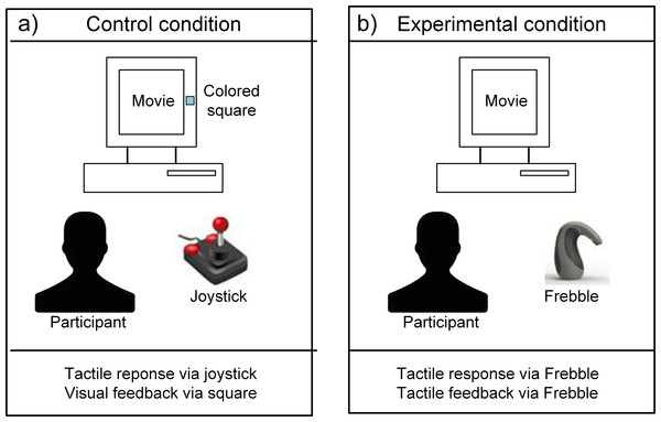 Control (A) and experimental (B) conditions with response and feedback channels.