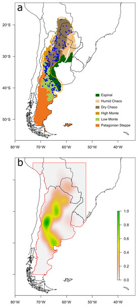 Maps of observations and a priori probability distribution of Chelonoidis chilensis.