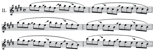 First six bars of etude #11 by Kreutzer (1796).