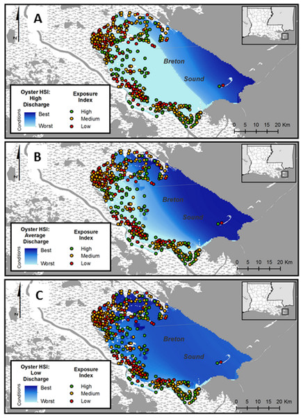Shoreline suitability maps.