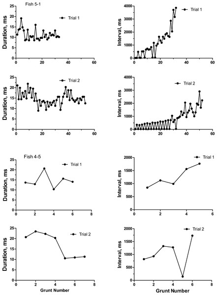 Duration and inter-grunt interval in milliseconds during the course of a grunt train for two oyster toadfish recorded on two occasions 6 days apart.
