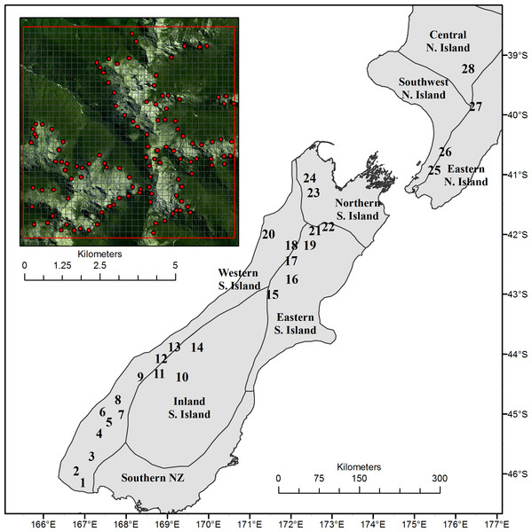 Location of the 28 study sites across New Zealand relative to broad climatic regions.