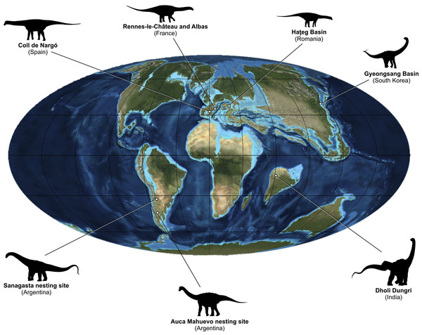 Upper Cretaceous paleogeography and distribution of the reviewed titanosaur nesting sites.