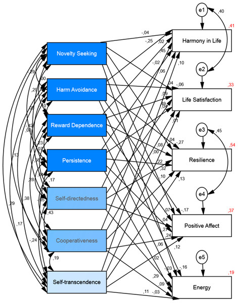 Structural equation model of the relationship between personality and well-being.