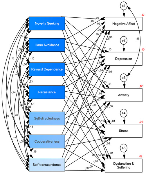 Structural equation model of the relationship between personality and ill-being.