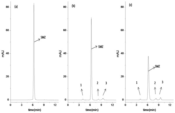 Analysis of SMZ degradation in bioreactor as function of time by HPLC.