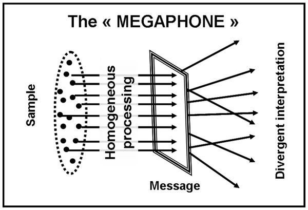 "The ""megaphone-shape"" model."