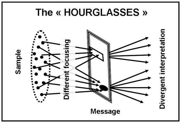 "The ""hourglass-shape"" model."