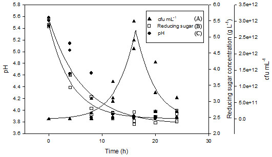 Shake flask fermentation of M. charantia juice with L. plantarum BET003 at 30 °C for 24 h: (A) cell viability (Log CFU mL−1); (B) reducing sugar; (C) pH.