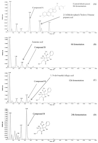 LCMS/MS analysis of M. charantia juice: (A) fresh juice as control; and fermented juice for (B) 6 h; (C) 12 h; (D) 24 h.