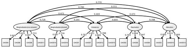 CFA of CAOD (study 2).