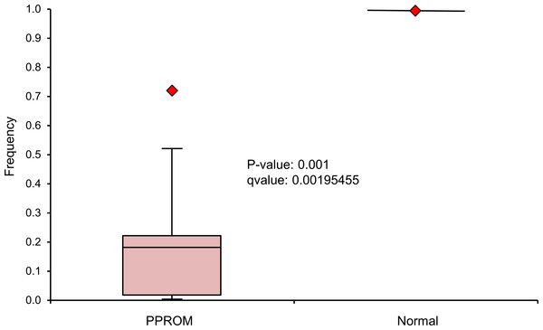 Boxplot representing the Lactobacillus frequency in the vaginal swabs of 9 PPROM subjects at presentation before the administration of antibiotic treatment.
