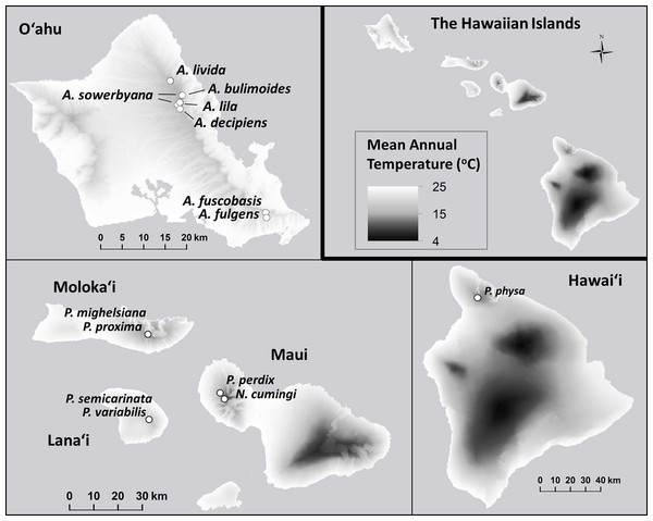 Mean annual temperature (°C) at the sites where wild snails were originally collected for the tree-snail captive-rearing facility at the University of Hawaiʻi at Mānoa.