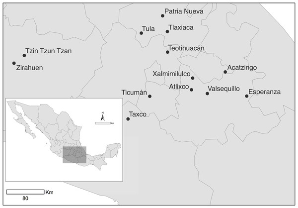Sampled populations of Datura stramonium in central Mexico (see Table 1).