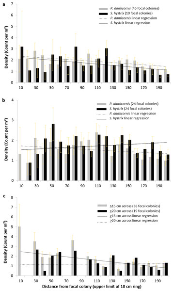 Density of Pocillopora damicornis and Seriatopora hystrix at 10 cm intervals around focal colonies.
