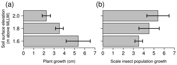 Growth of Spartina foliosa plants (A) and proportional growth of scale insect populations (B) in mesocosms connected to the tide controller at three elevations.