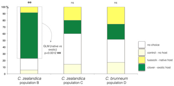 Plant choice of larvae of three populations of Costelytra in a three-arm olfactometer.