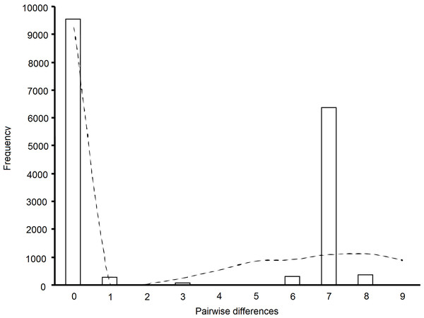 Mismatch distribution of pairwise sequence differences in brown rat mtDNA (bars).