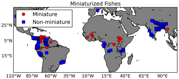Map of miniaturized fishes and their non-miniaturized sister taxa.