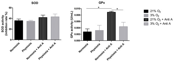 Enzymatic activity of the antioxidant enzymes superoxide dismutase (SOD) and glutathione peroxidase (GPx).