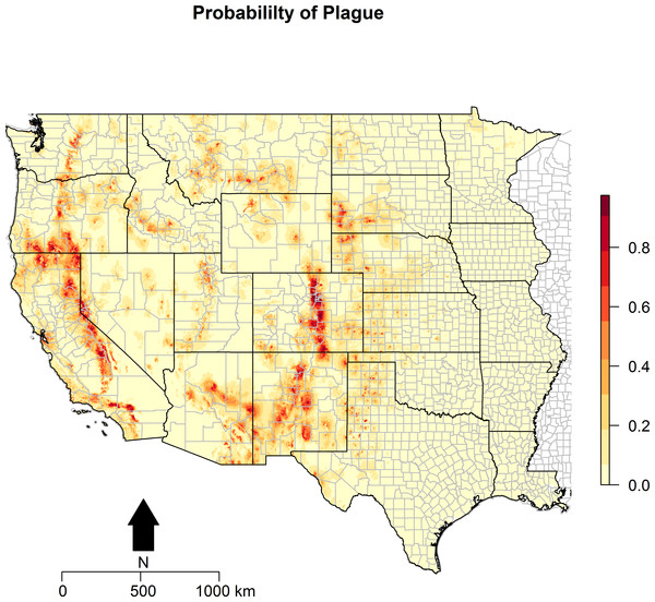 Predicted probability of epizootic animal plague.