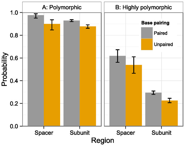 Polymorphism probability by region and structure.