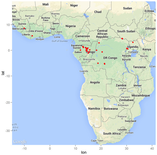 The distribution of zoonotic Ebola virus disease transmission events (red dots) across West and Central Africa.
