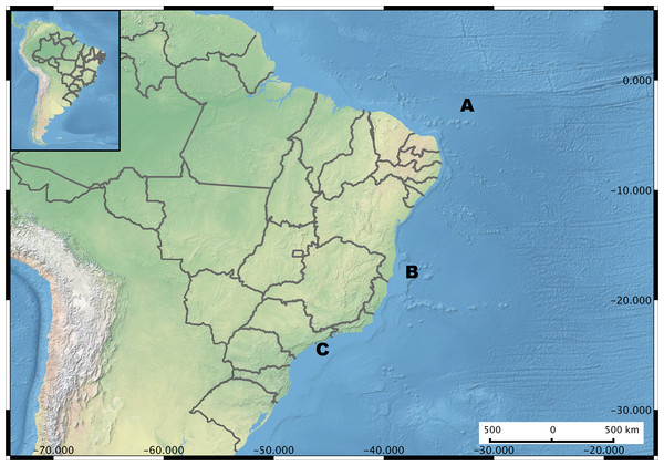 Brazil Map showing the sampling regions.