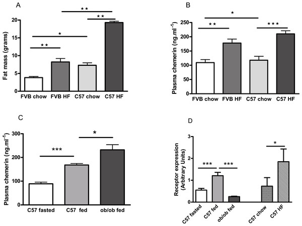 Effects of obesity and fasting on the plasma chemerin concentration and chemerin gene (RRARES2) expression in inguinal adiposetissue.