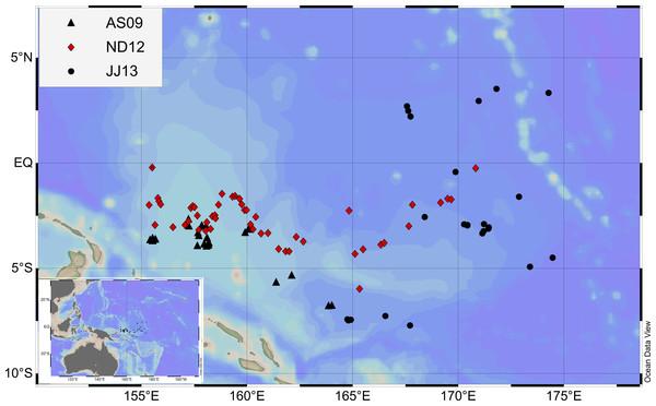 Sampling map during the three cruises.