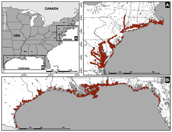 Spatial distribution of sampling sites.