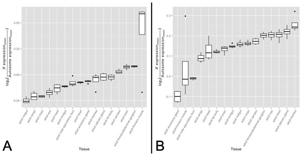 X-to-autosome expression variation among somatic tissues.