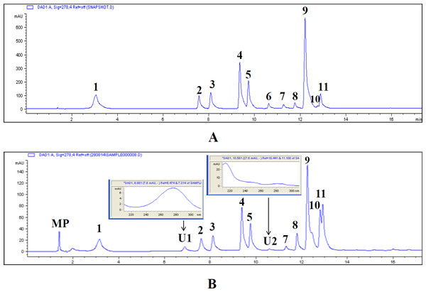 HPLC chromatogram of standards and phenol rich extract of Russula senecis (RusePre).