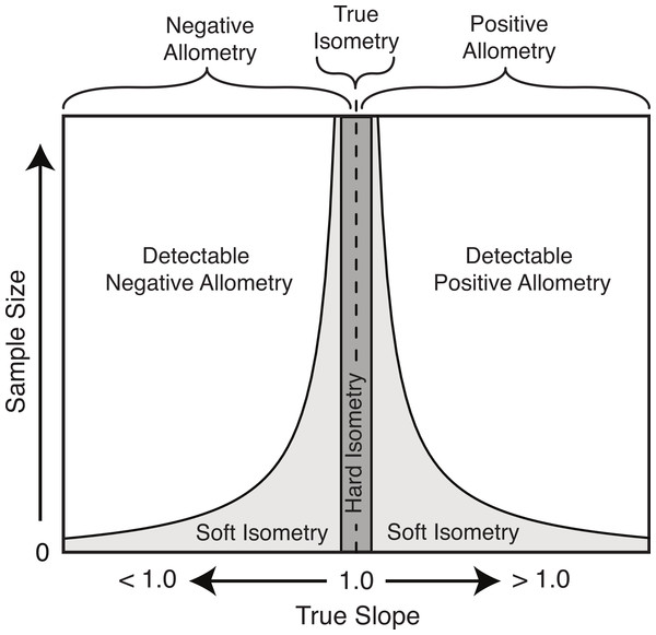 Schematic of the relationship of the true slope and the sample size to the ability to categorize scaling trends.
