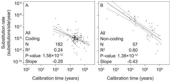 Linear regressions of log-transformed rate estimates from mitochondrial markers in a range of metazoan taxa against the log-transformed calibration times that were used to estimate the rates.