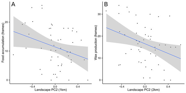 Food accumulation and wax production were negatively correlated with PC2.