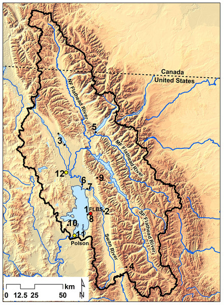 Monitoring sites in the Flathead Lake watershed.