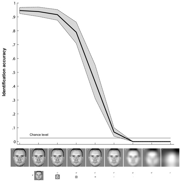 Personally familiar face identification across simulated viewing distances.