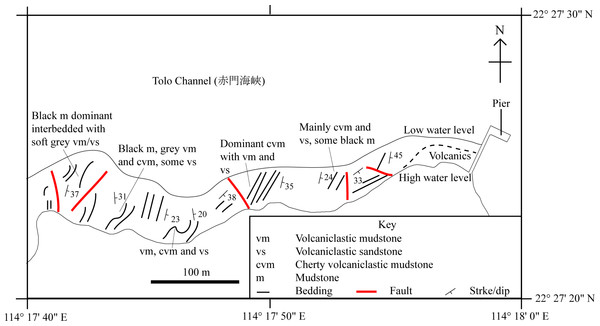 A simplified geological field sketch of Lai Chi Chong, Tolo Channel, Hong Kong.