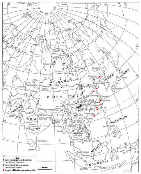 Southeast Asian Jurassic fish localities and the localities of Paralycoptera.
