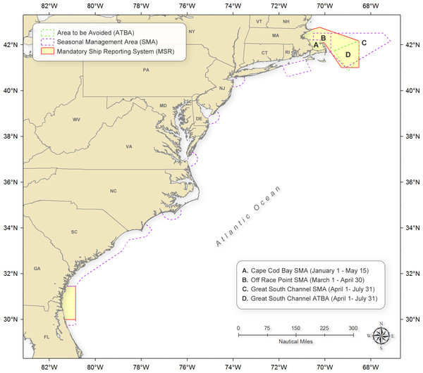 Locations of the Mandatory Ship Reporting systems, Area To Be Avoided, and speed restriction seasonal management areas.