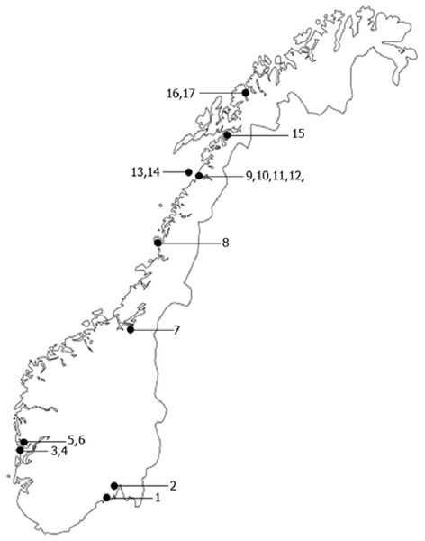 Map of the sampling sites.