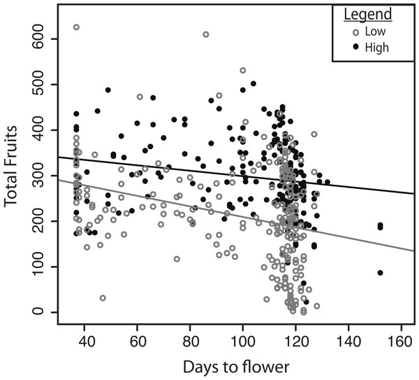 Selection on flowering time in the two experimental treatments.