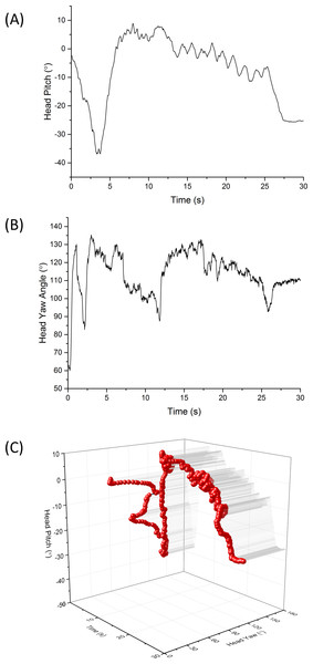 Example period of 30 s showing head directionality (A) pitch (B) heading and (C) both pitch and heading combined in a 3-dimensional plot, for a visitor walking through green space (the National Botanic Garden of Wales).