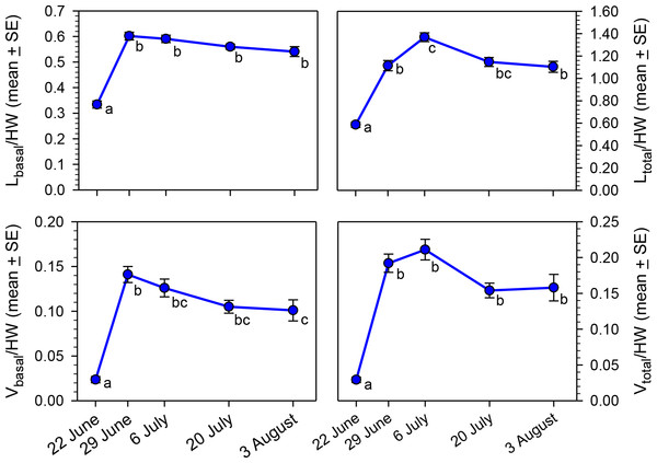 Seasonal changes in body size-adjusted oocyte size variables by sampling date for bees collected in MT in 2012.