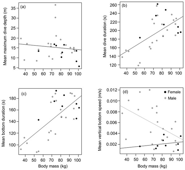 Relationship between (A) mean maximum dive depth (B) mean dive duration (C) mean bottom duration and (D) mean bottom speed as a function of body mass of female and male harbour seals.