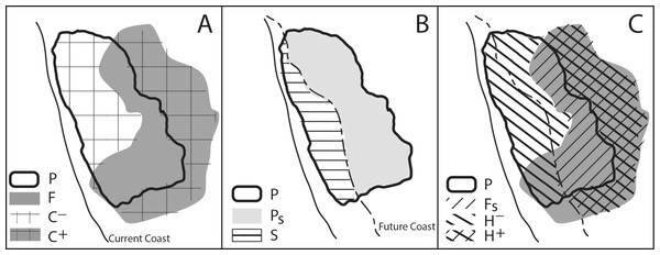 Conceptual model of the change in suitable habitat from the effects of SLR and climate change.