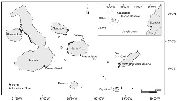 Geographic position of the study site in the Galapagos Marine Reserve.