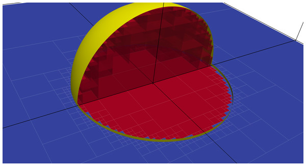 Illustration of the voxelization of a sphere within coarse mesh elements.