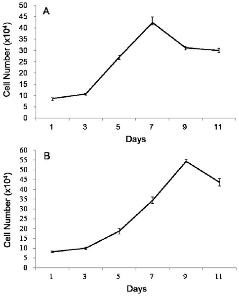 Growth curves of POMSCS(2n) and POMSCS(3n) cells in MEM supplied with 20% FBS at 25 °C.